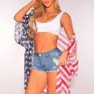 American Flag Print Kimono Cover Up Vest