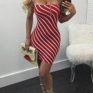 Neck Belt Stripe Sexy Dress