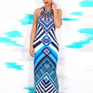 Tribal Print Halter Backless Slit Sexy Maxi Dress
