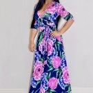 Floral Print Tie Waist Maxi Dress