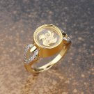 Gold Plated Windmill with Side Hearts Ring