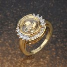 Gold Plated Halo Round Cut Windmill Ring