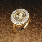 Round Cut Windmill Gold Plated Halo Ring