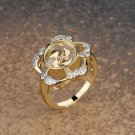 Gold Plated Crystal Flower Ring