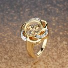 Crystal Flower Gold Plated Ring