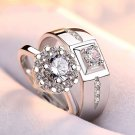 Sterling Silver Crystal Rings Couple Wedding Ring