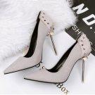 Rivet pointed horsehair high heels