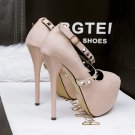 Cross rivet shallow mouth high-heeled shoes