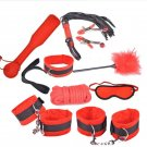 PU Leather Fetish Bondage Kits(Red 9pcs)