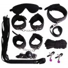 PU Leather Bondage Set Kits(Black 7pcs)