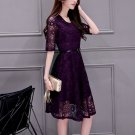 Large Size Women's Clothing Collar Lace Render Dress