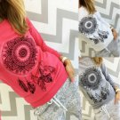 Long Sleeve Feather Geometric Graphics Printed T-shirts