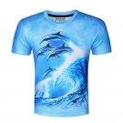 Men's Casual 3D Dolphin Digital Printing Short-sleeved T-shirt