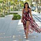 Elegant Halter Neck Chiffon Floral Printing Long Dress