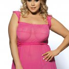 Pink Plus Size Mini Babydoll Dress With Narrow Sleeve