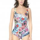 Sugar Skulls Printed Neck Colorful Floral One-piece Swimsuit
