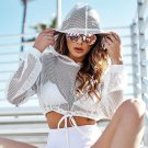 Perspective Hollow Out Long-Sleeve Crop Top Hooded Mesh Shirts
