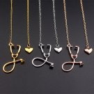 Stethoscope Necklace Lariat Heart Pendant Nurse Medical Necklace For Women