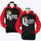 Couple Matching King Queen Crown Raglan Pullover Hoodie