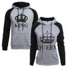 King Queen Crown Raglan Hoodie Pullover Hooded Sweatshirt
