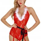 See-Through Lace-Up Deep V-Neck Costume