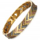 Swordsman-Silver Gold Plated Stainless Steel Healing Magnetic Bracelet for Pain