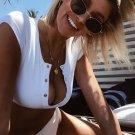 High Leg Ribbed Button Crop Bikini Swimsuit