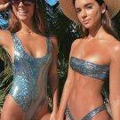 Metallic High Leg Bandeau Bikini Swimsuit