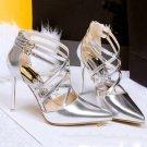 Cross word buckle Rome high heels