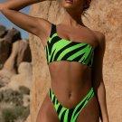 Zebra Print One Shoulder Bikini Set