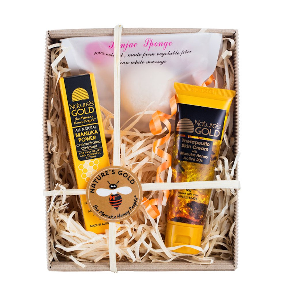 Manuka Honey Skin Care Gift Box - Includes Moisturizer, Ointment, and Konjac Sponge
