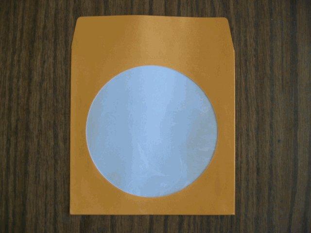 100 ORANGE CD PAPER SLEEVES w/ WINDOW & FLAP - JS203