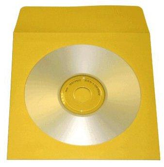 100 YELLOW CD PAPER SLEEVES w/ WINDOW & FLAP - JS204