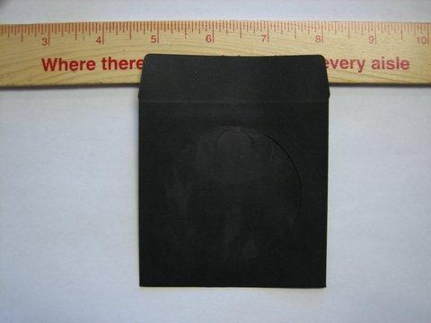 """100  3"""" BLACK MINI CD-R PAPER SLEEVE ENVELOPES JS213"""