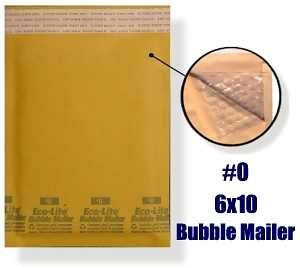 "100 BUBBLE MAILERS 6"" X 10"" BL0"