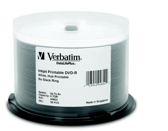 50 DVD-R 4.7GB 8X DataLifePlus, White Inkjet Printable, Hub Printable