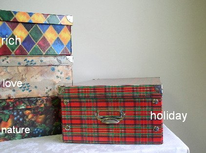 12 LARGE STORAGE BOXES, LOVE PATTERN - LAST ONES LEFT!