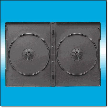 1000 BLACK DOUBLE DVD CASES - CLIPS ON SPINE - PSD33