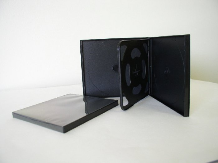 1000 SLIM BLACK QUAD CD / DVD POLY CASES PSC75
