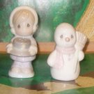 Girl  & Snowman Salt & Pepper Shakers