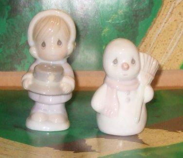 Girl  & Snowman Salt & Pepper Shakers