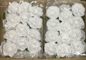 Wholesale Case Lot - 6 Dozen White Silk Flowers White Rosebuds with Green Stems