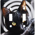 Decorative Wall Light Switch Plate Double Toggle Metal - Hypnotic Black Cat