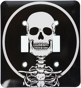 Decorative Light Switch Plate Double Toggle Metal Black & White Skeleton Design