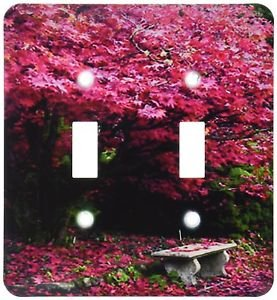 Decorative Light Switch Plate Double Toggle Metal Pink Flowering Blooms Trees