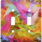 Decorative Light Switch Plate Double Toggle Metal Bright Colored Feather Pattern