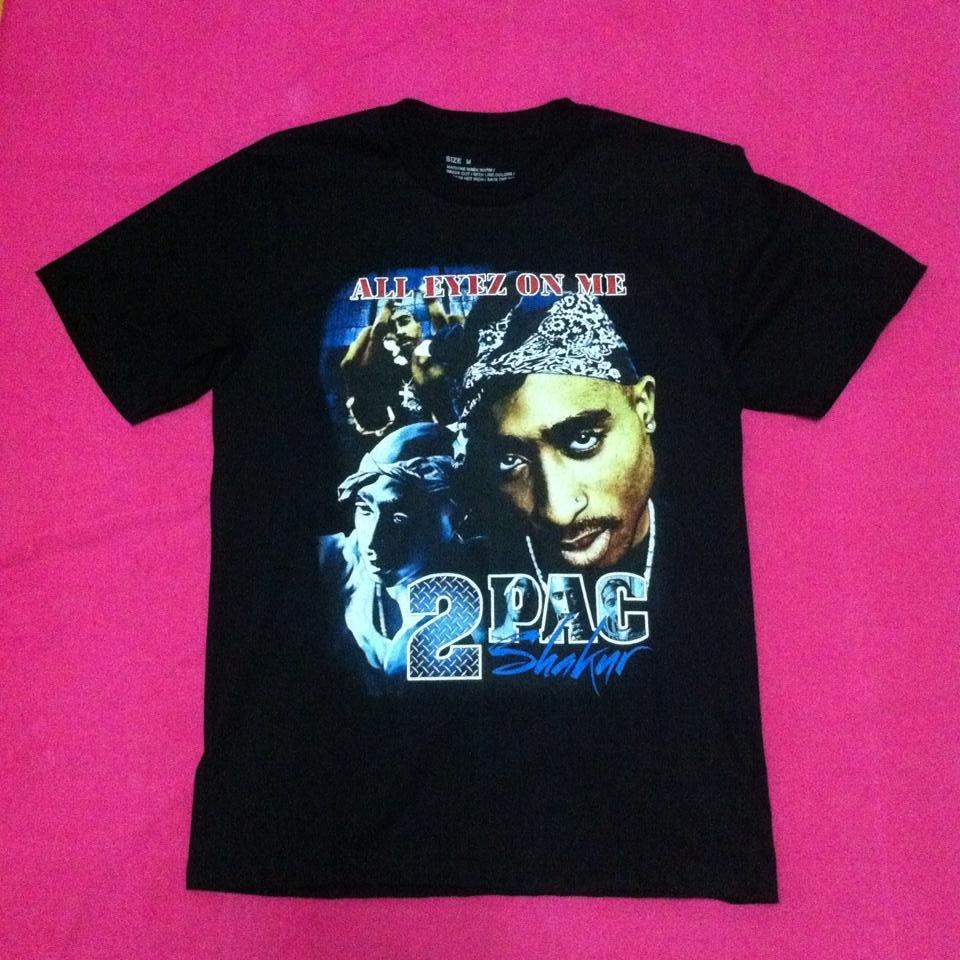 Tupac Shakur 2Pac ALL EYEZ ON ME Vintage Print T-shirt Black