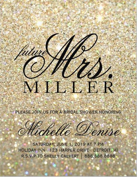 Invitation | Gold Glit Fab future Mrs. Bridal Shower 3  (Qty 10)