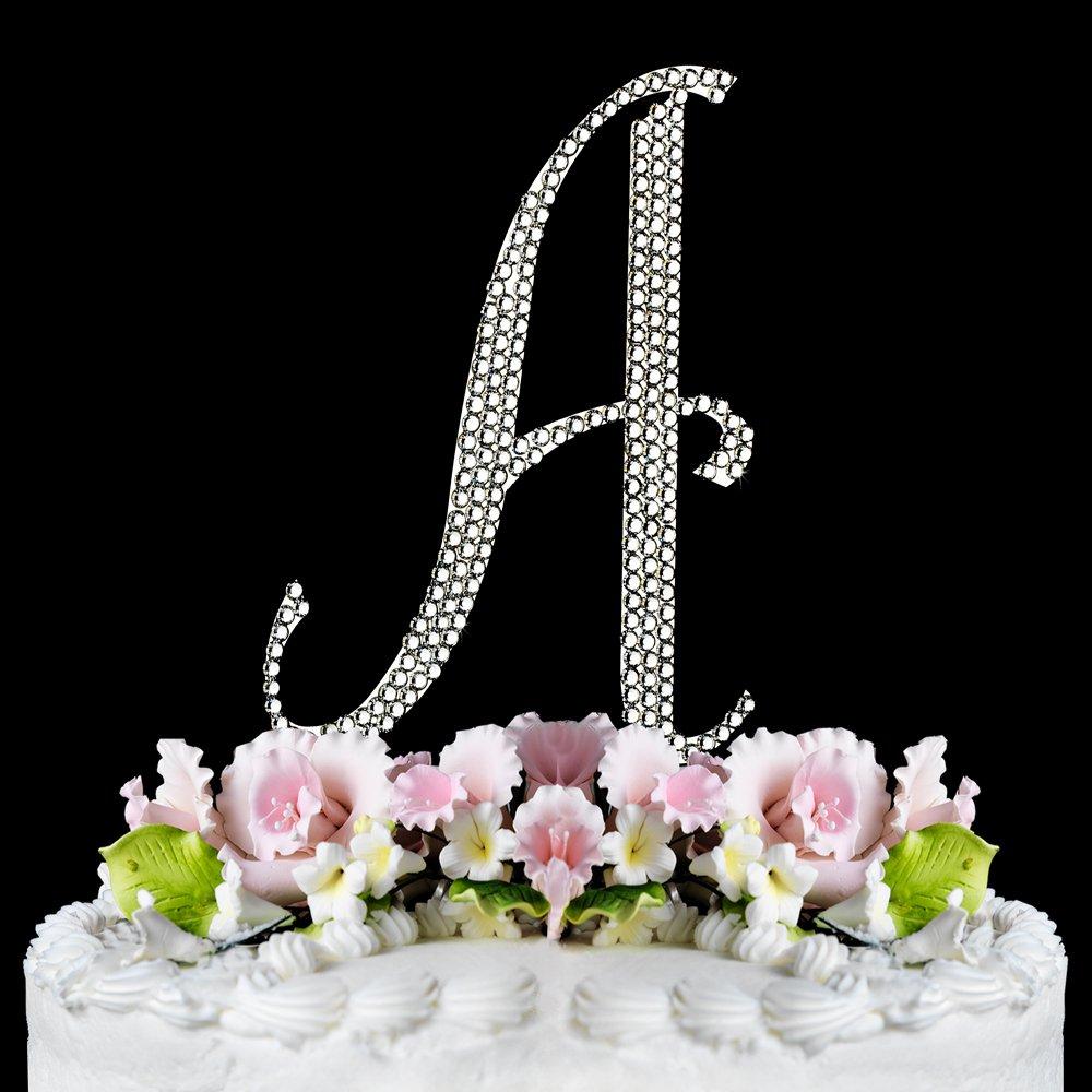 Large - Swarovski Crystal Alphabet Wedding Cake Toppers