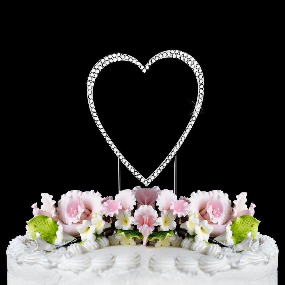 Small - Swarovski Crystal Heart Wedding Cake Topper
